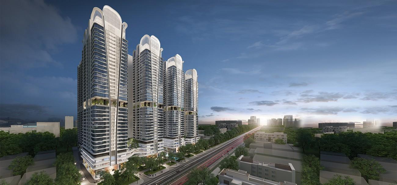 Phối cảnh tổng thể dự án căn hộ chung cư Astral City Thuận An Đường Quốc lộ 13 chủ đầu tư Phát Đạt Group