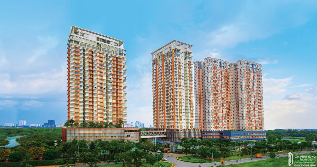 Phối cảnh tổng thể dự án căn hộ chung cư Dragon Hill Residence and Suites 2 Nhà Bè Đường Nguyễn Hữu Thọ chủ đầu tư Phú Long