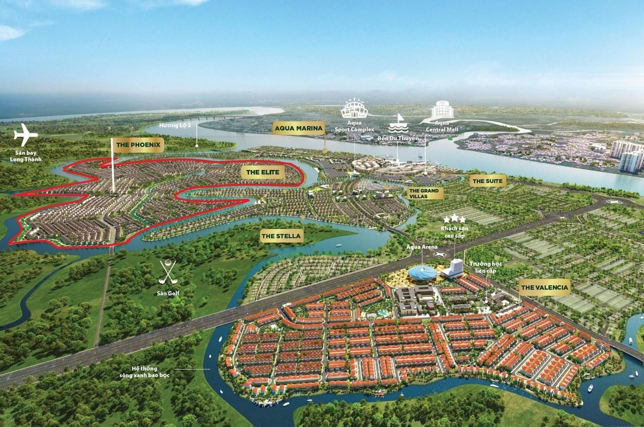 Phối cảnh tổng thể dự án nhà phố Aqua City The Phoenix South - Đảo Phụng Hoàng Đồng Nai chủ đầu tư NovaLand