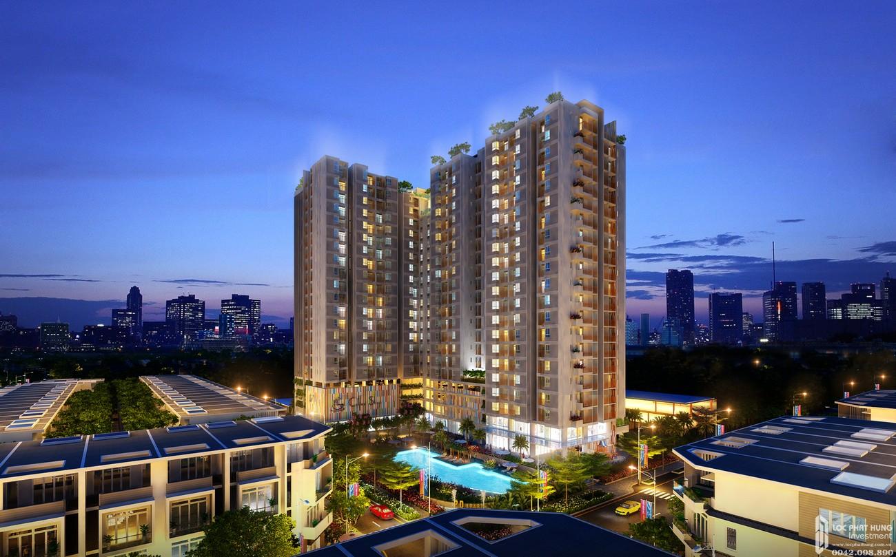 Phối cảnh tổng thể dự án nhà phố, căn hộ Dragon Empire DĨ An chủ đầu tư Vương Bảo Long