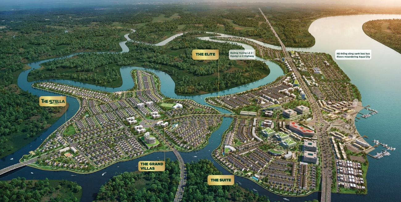 Phối cảnh tổng thể dự án Nhà Phố chung cư Aqua City Biên Hòa Đường Quốc lộ 51 chủ đầu tư Novaland