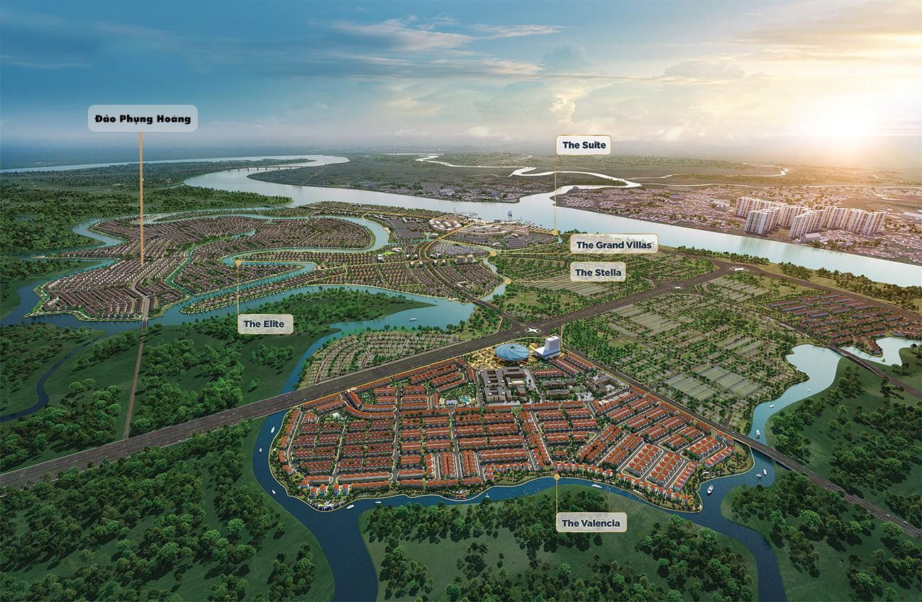 Phối cảnh tổng thể dự án nhà phố Đảo Phượng Hoàng (The Phoenix Island) Biên Hòa Đồng Nai chủ đầu tư NovaLand