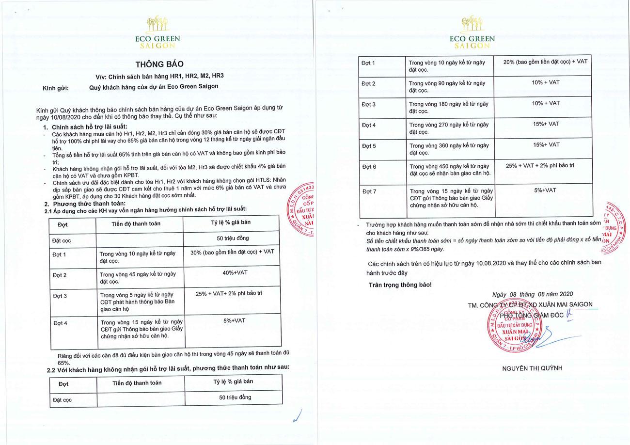 Chính sách thanh toán dự án căn hộ Eco Green Sài Gòn quận 7 tháng 08-2020