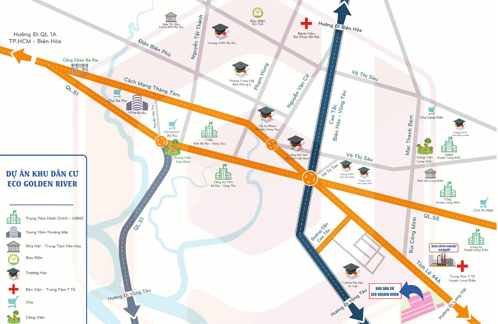 Sơ đồ đường đi tới dự án đất nền Eco Golden River Huyện Long Điền tỉnh Bà Rịa Vũng Tàu