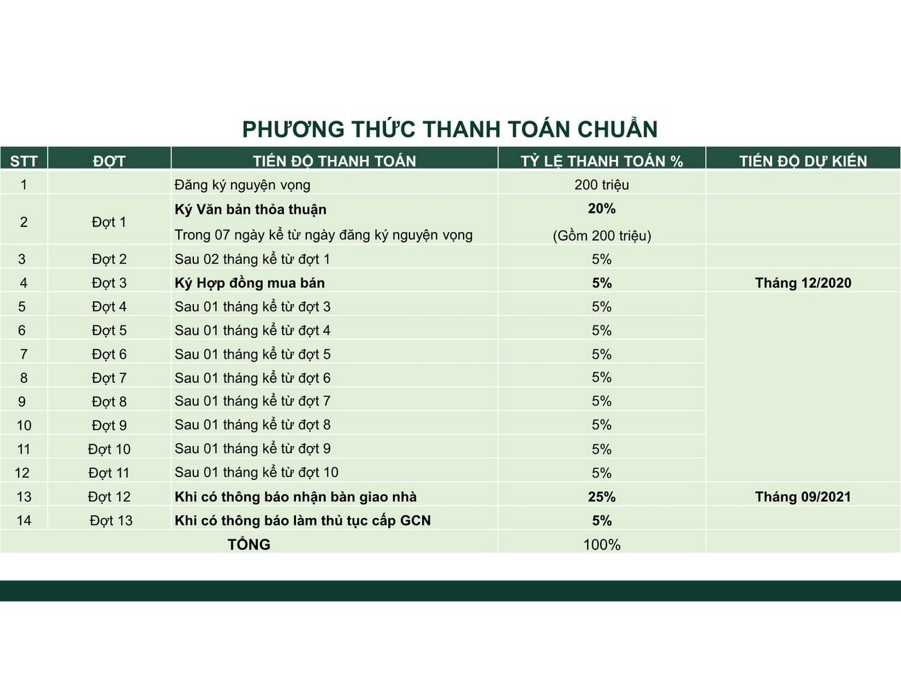 Phương thức thanh toán dự án Nhà phố Diamond Central Biên Hòa Đường Võ Thị Sáu chủ đầu tư Gotec Land