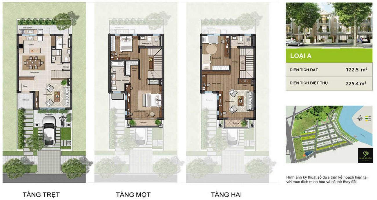 Thiết kế dự án nhà phố Nine South Estates Nhà Bè Đường Nguyễn Hữu Thọ chủ đầu tư VinaCapital