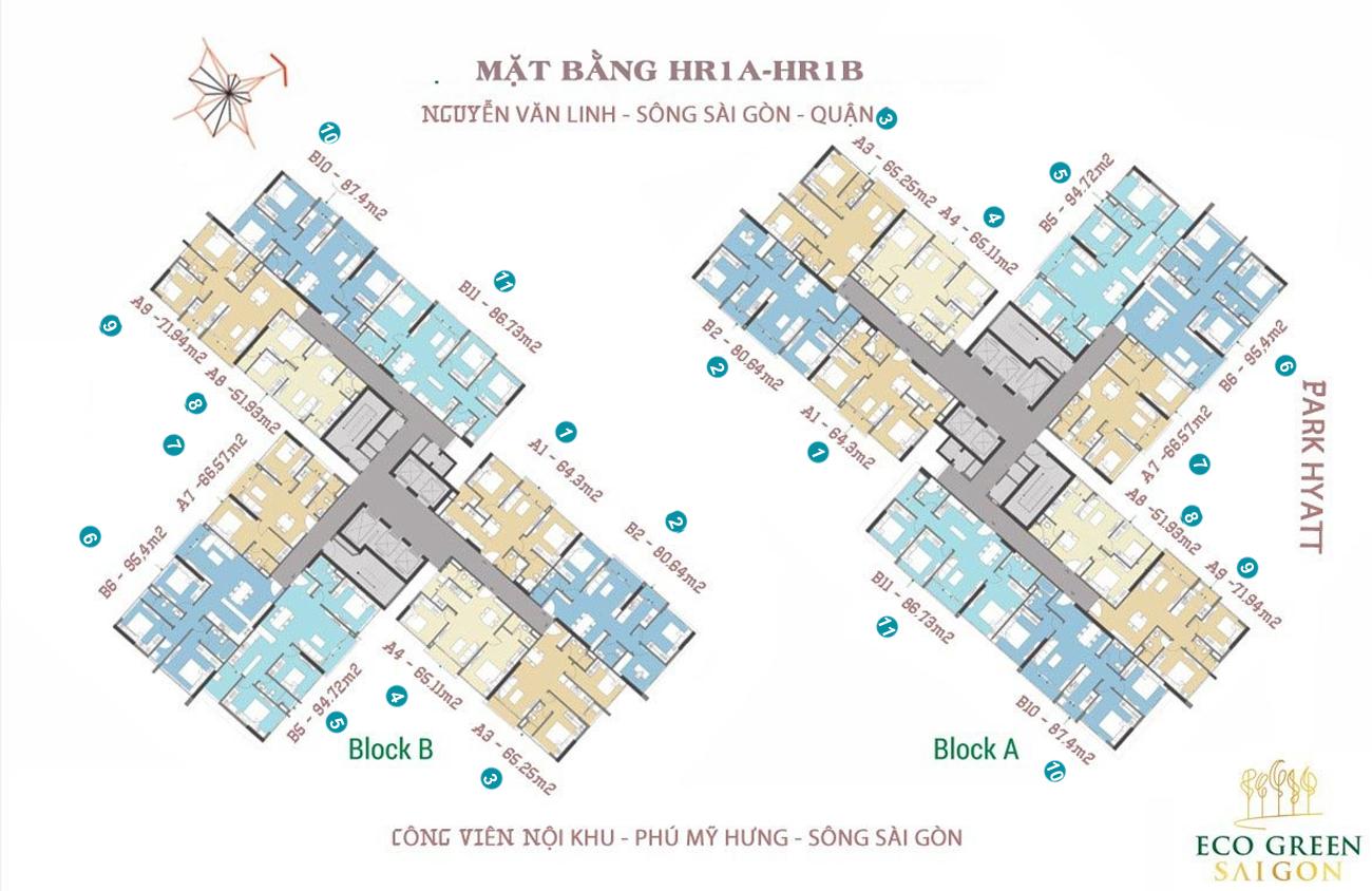 Mặt bằng thiết kế  tòa HR1A+HR1B căn hộ chung cư Eco Green Saigon Quận 7