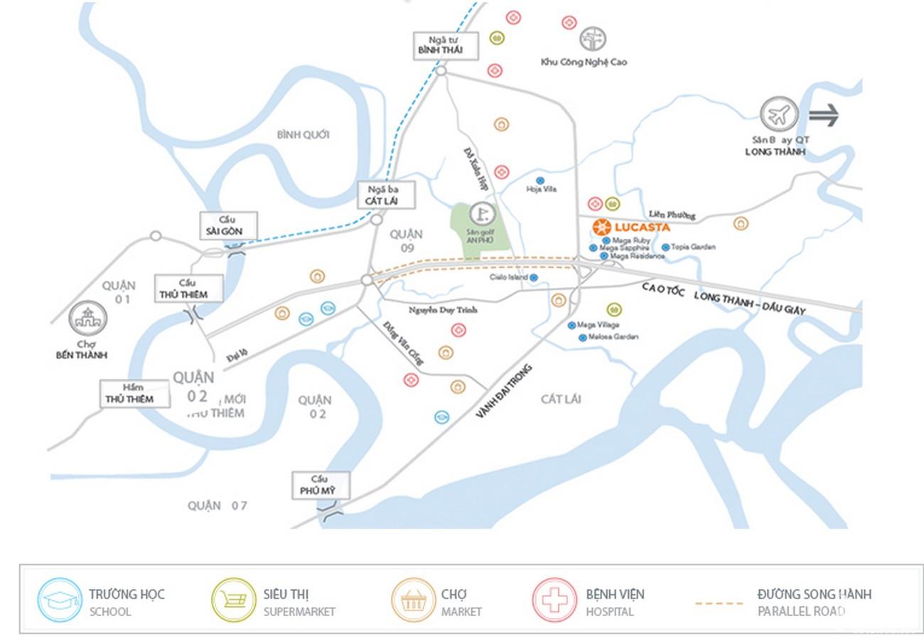 Vị trí địa chỉ dự án Biệt thự Lucasta Quận 9 Đường Liên Phường chủ đầu tư Khang Điền
