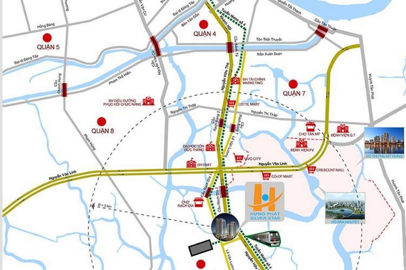 Vị trí địa chỉ dự án căn hộ chung cư Hưng Phát Silver Star Nhà Bè Đường Nguyễn Hữu Thọ chủ đầu tư Hưng Lộc Phát
