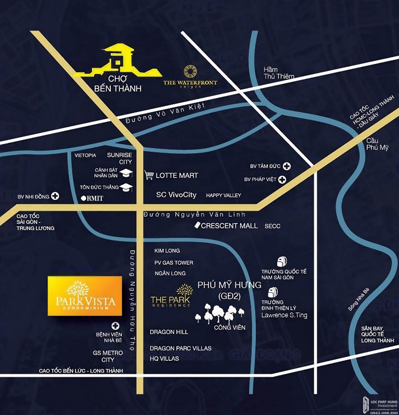 Vị trí địa chỉ dự án căn hộ chung cư Park Vista Nhà Bè Đường Nguyễn Hữu Thọ chủ đầu tư Đông Mê Kông