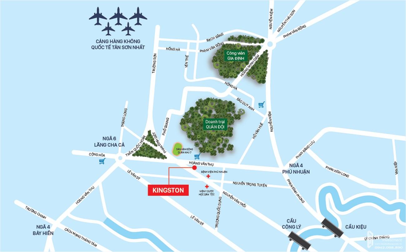 Vị trí địa chỉ dự án căn hộ chung cư Kingston Residence Phú Nhuận Đường Hoàng Văn Thụ chủ đầu tư Novaland