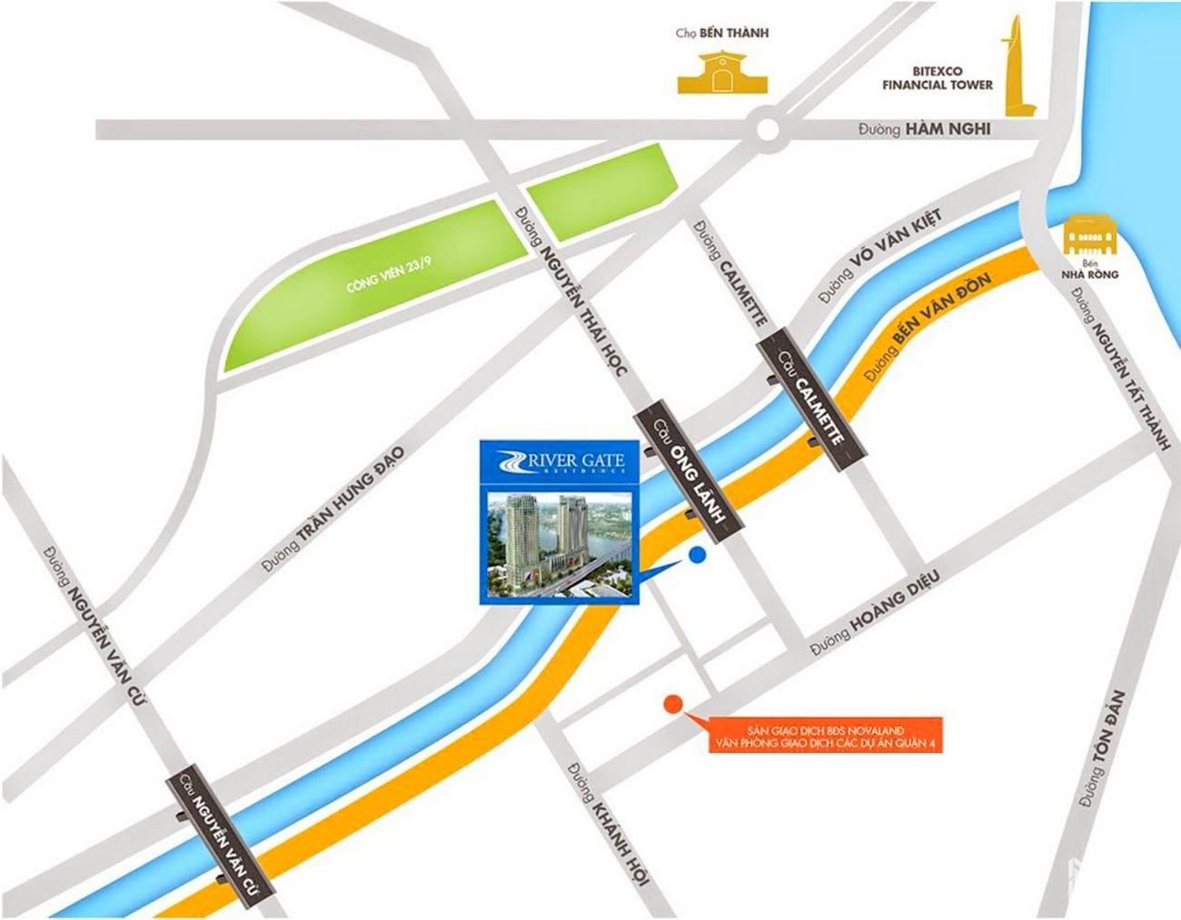 Vị trí địa chỉ dự án căn hộ chung cư Rivergate Residence Quận 4 Đường Bến Vân Đồn chủ đầu tư Novaland
