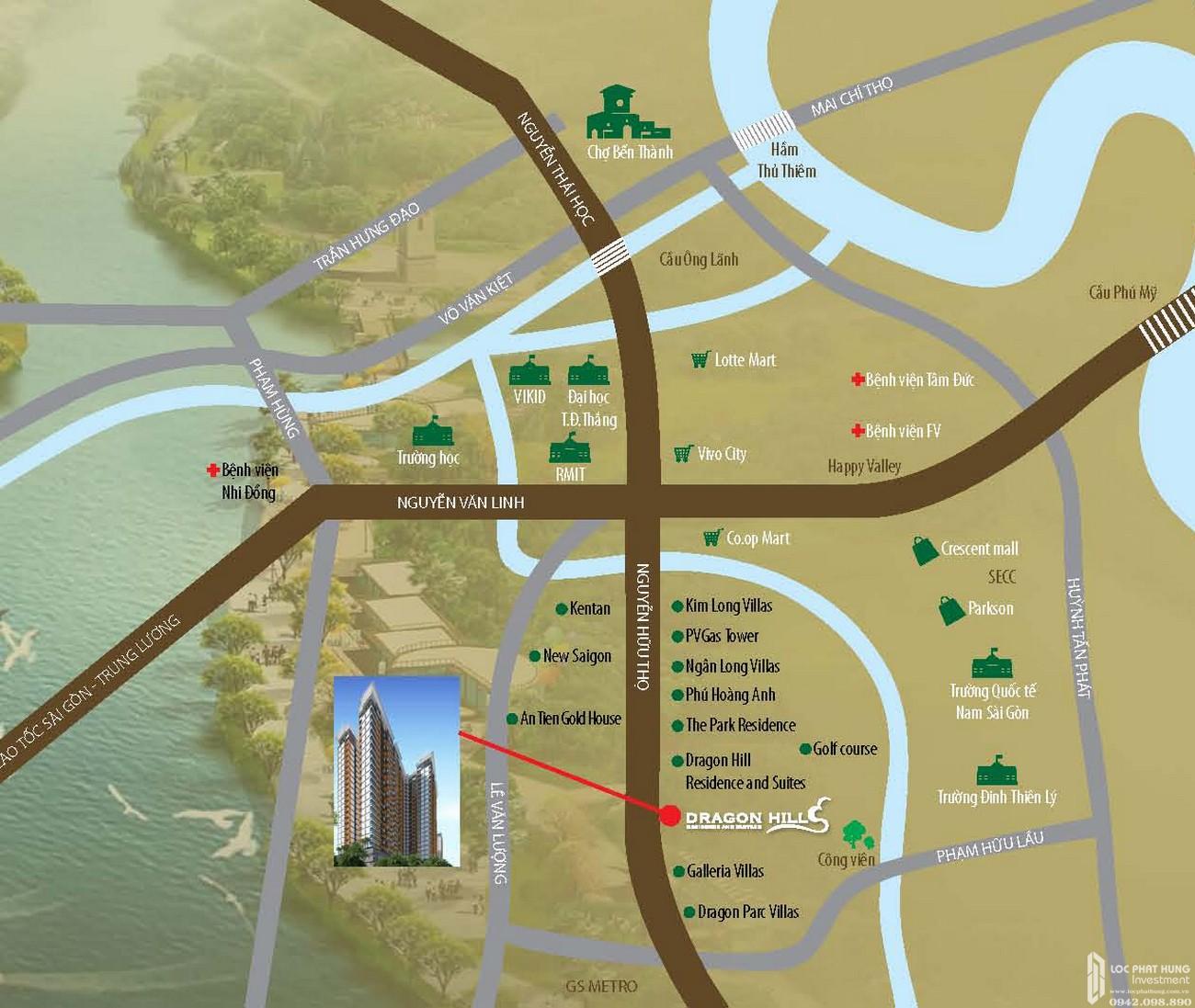 Vị trí địa chỉ dự án căn hộ chung cư Dragon Hill Residence and Suites 2 Nhà Bè Đường Nguyễn Hữu Thọ chủ đầu tư Phú Long