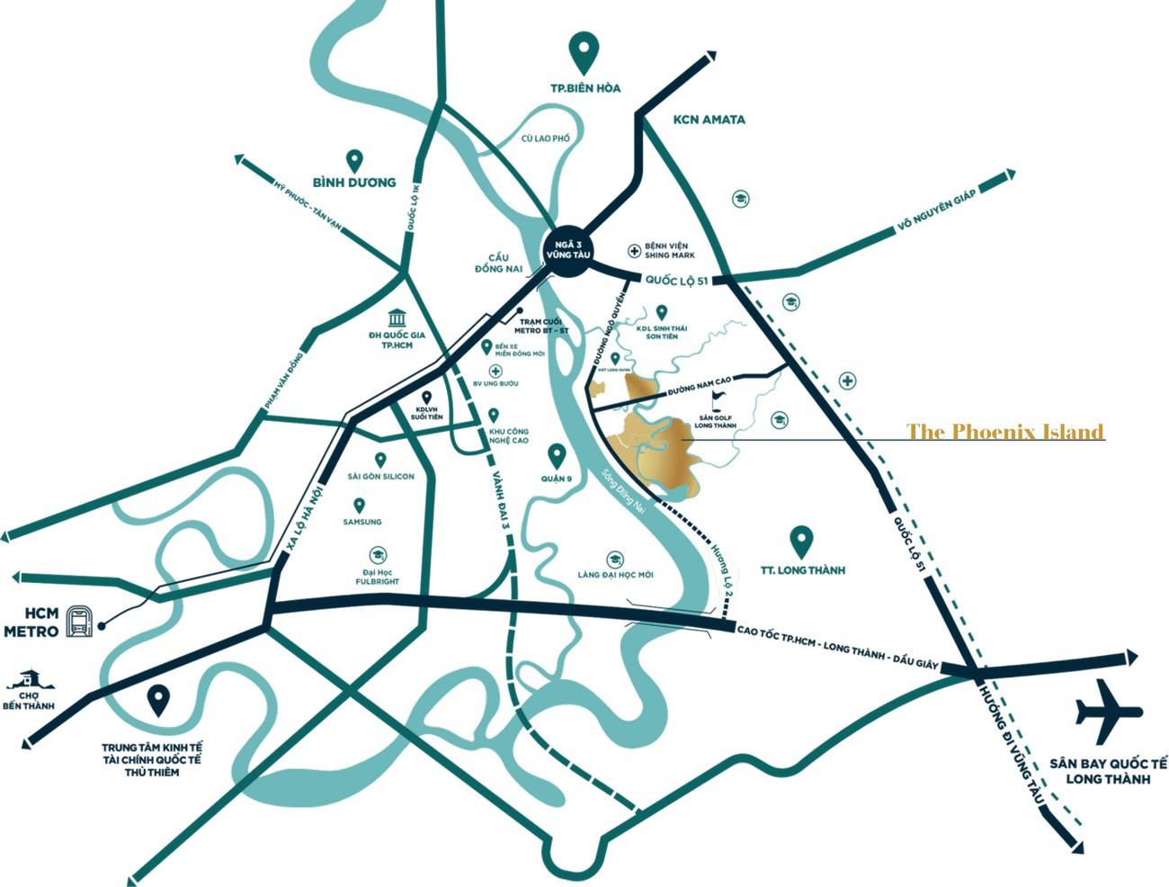 Vị trí địa chỉ dự án nhà phố Aqua City The Phoenix South Biên Hòa Đồng Nai chủ đầu tư NovaLand