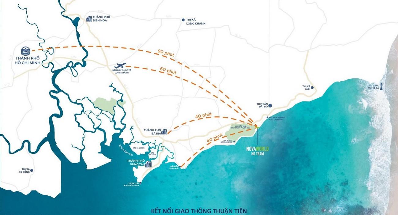 Vị trí địa chỉ dự án nhà phố Novaworld Hồ Tràm Bình Châu chủ đầu tư Novaland