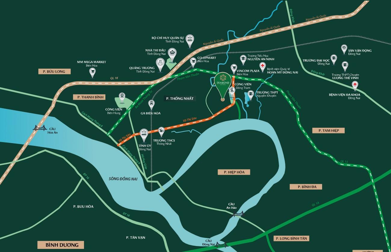 Vị trí địa chỉ dự án Nhà phố Diamond Central Biên Hòa Đường Võ Thị Sáu chủ đầu tư Gotec Land