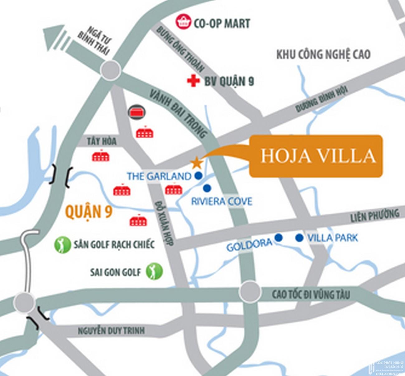 Vị trí địa chỉ dự án nhà phố Hoja Villa Quận 9 chủ đầu tư Khang Điền