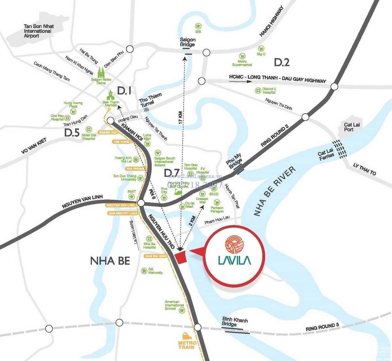 Vị trí địa chỉ dự án nhà phố Lavila Nhà Bè Đường Nguyễn Hữu Thọ chủ đầu tư Kiến Á
