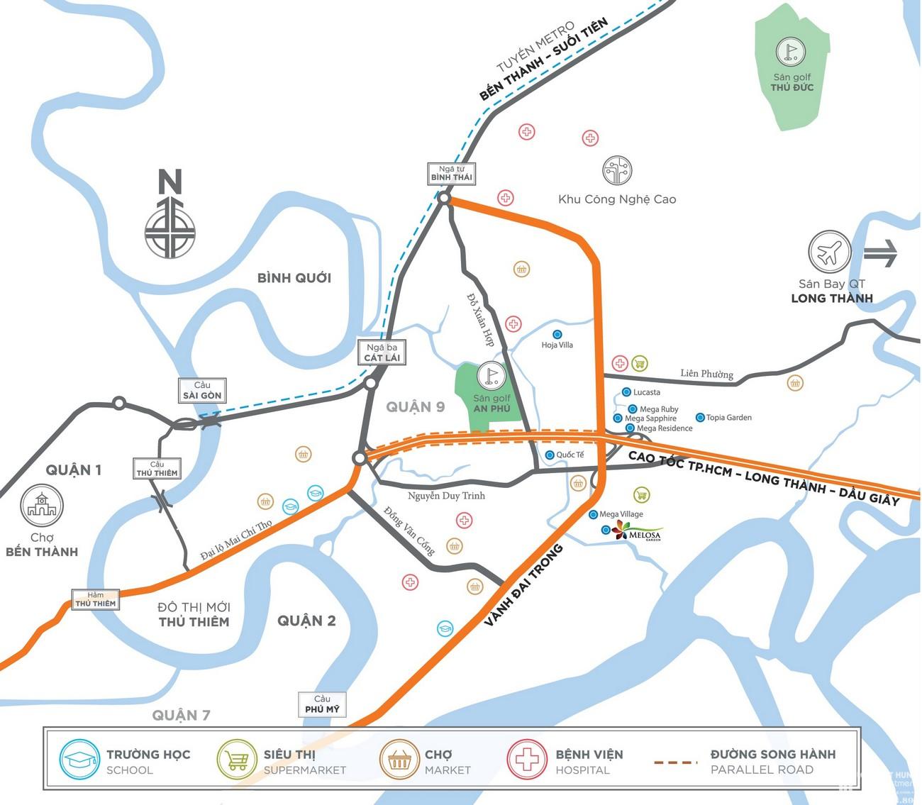 Vị trí địa chỉ dự án nhà phố Melosa Garden Quận 9 Đường Vành Đai Trong chủ đầu tư Khang Điền