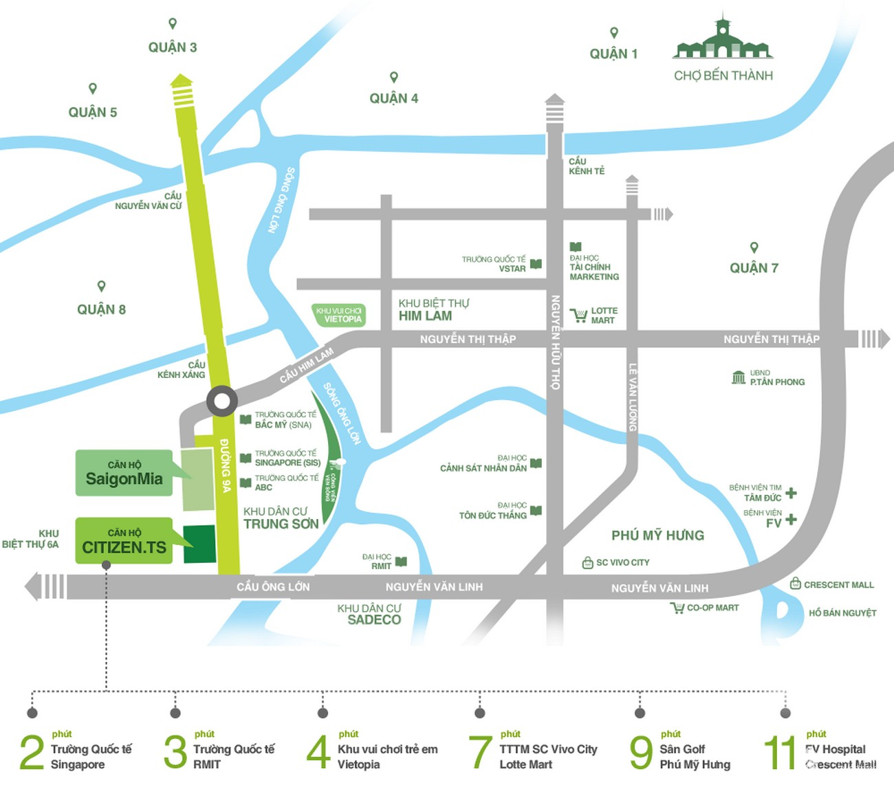 Vị trí địa chỉ dự án căn hộ chung cư Citizen Trung Sơn Bình Chánh Đường 9A chủ đầu tư Hưng Thịnh Land