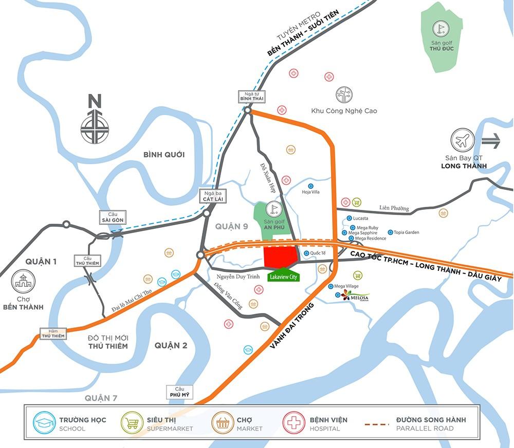 Vị trí địa chỉ dự án nhà phố Lakeview City Quận 2 Đường Cao tốc Long Thành - Dầu Giây chủ đầu tư NovaLand