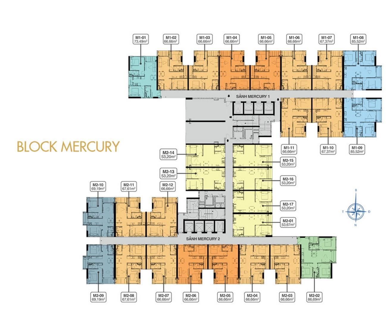 Mặt bằng tầng 19 Block Mercure Q7 Riverside Complex
