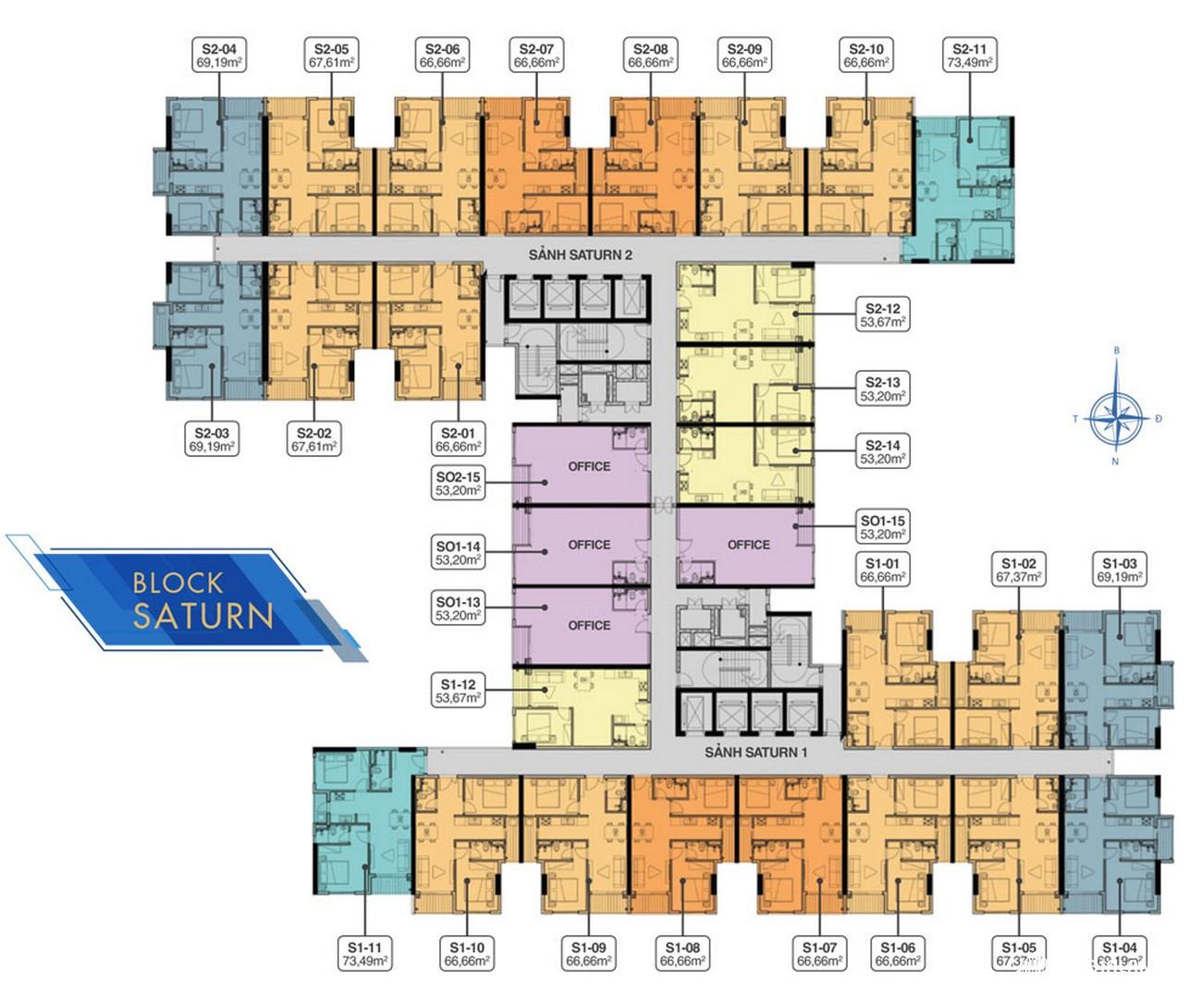 Mặt bằng tầng 5 Block Saturn Q7 Riverside Complex