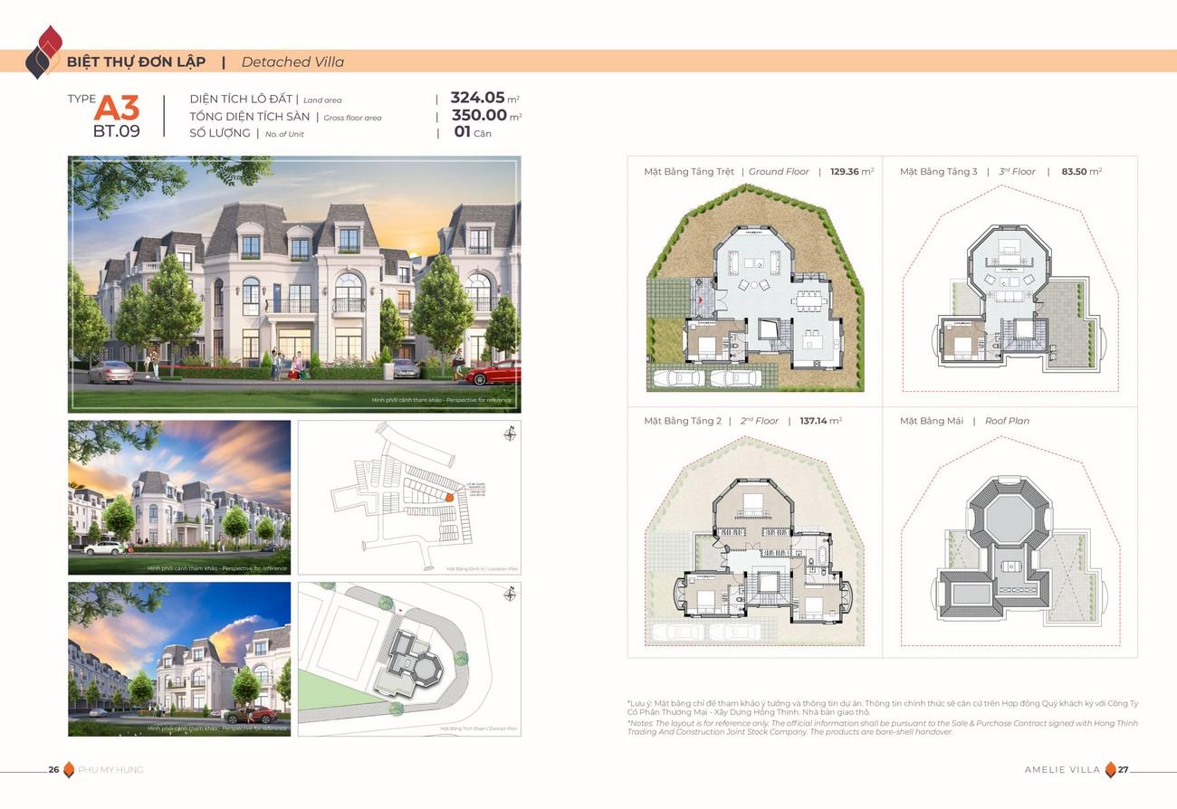 Thiết kế dự án biệt thự đơn lập Amelie Villa Phú Mỹ Hưng