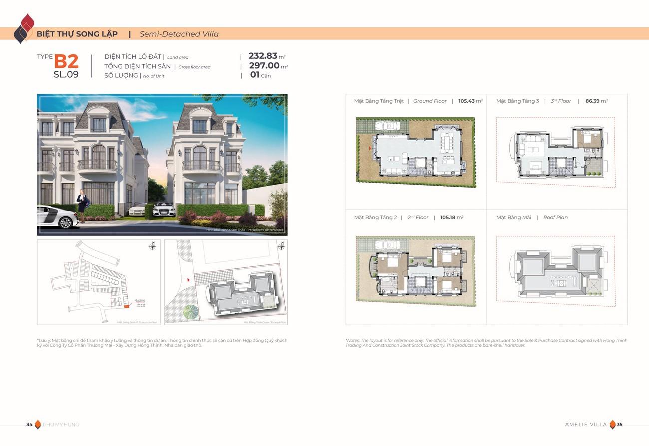 Thiết kế dự án biệt thự song lập Amelie Villa Phú Mỹ Hưng