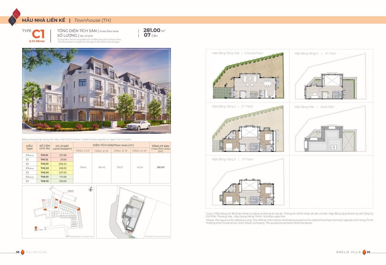 Thiết kế nhà phố liền kề dự án biệt thự Amelie Villa Phú Mỹ Hưng