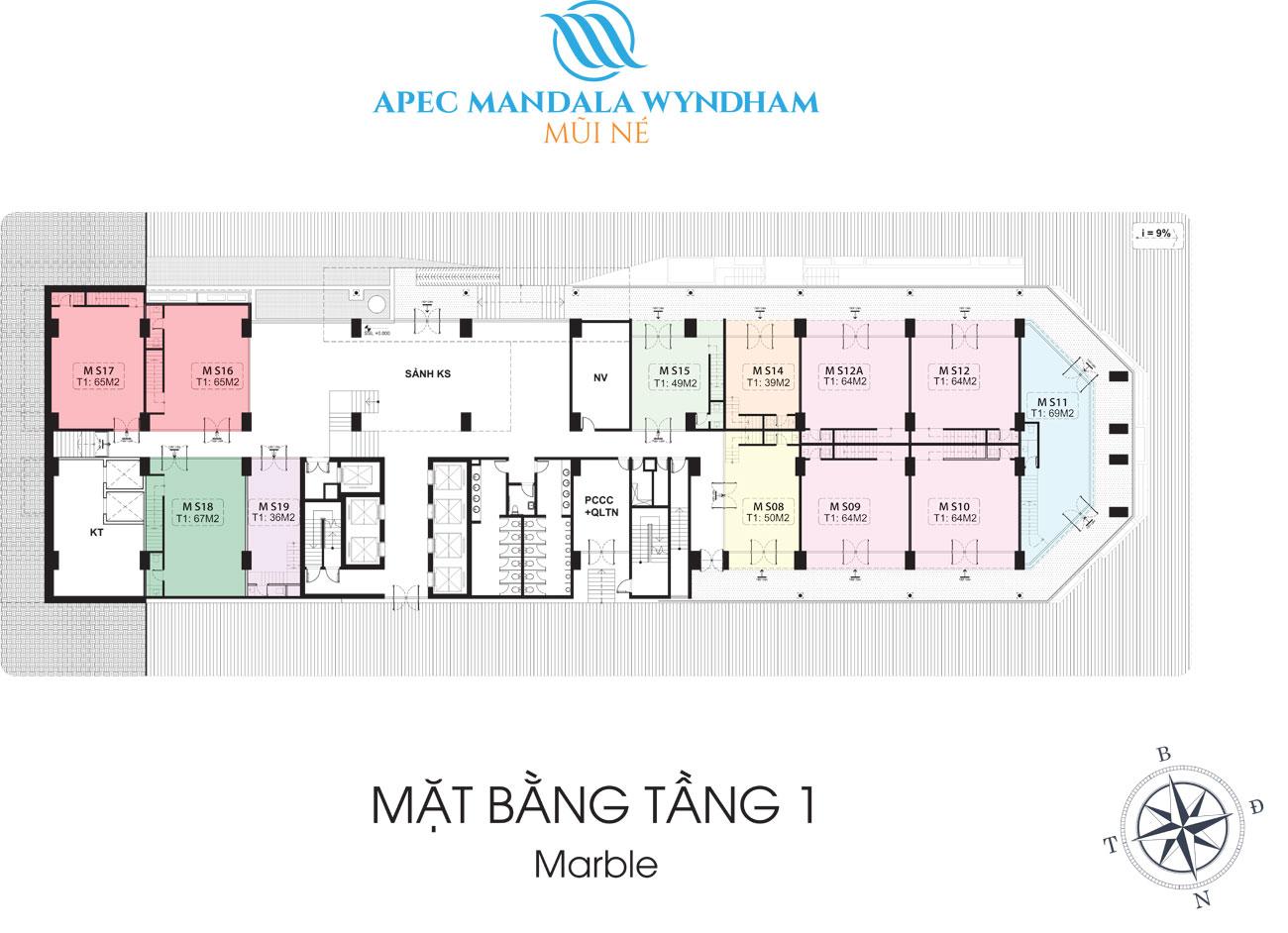 Mặt bằng dự án Condotel Apec Mandala Wyndham Mũi Né Phan Thiết Đường DT716 chủ đầu tư Tập đoàn Apec