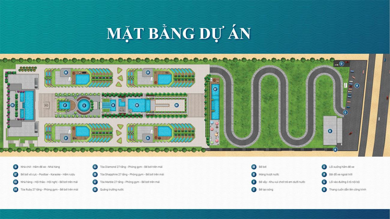 Mặt bằng tiện ích dự án Condotel Apec Mandala Wyndham Mũi Né Phan Thiết Đường DT716 chủ đầu tư Tập đoàn Apec