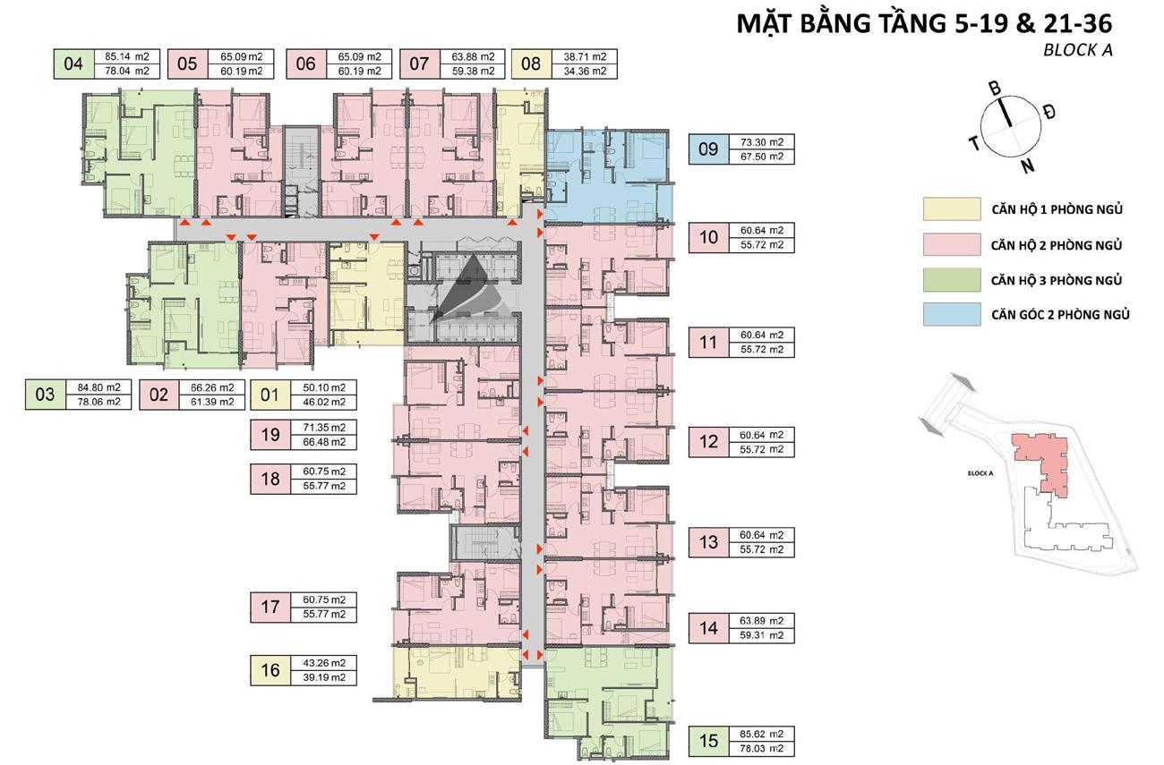 Mặt bằng Block A tầng 5-19 & 21-36 căn hộ chung cư Opal SKyline Lái Thiêu TP Thuận An Tỉnh Bình Dương CĐT Đất Xanh