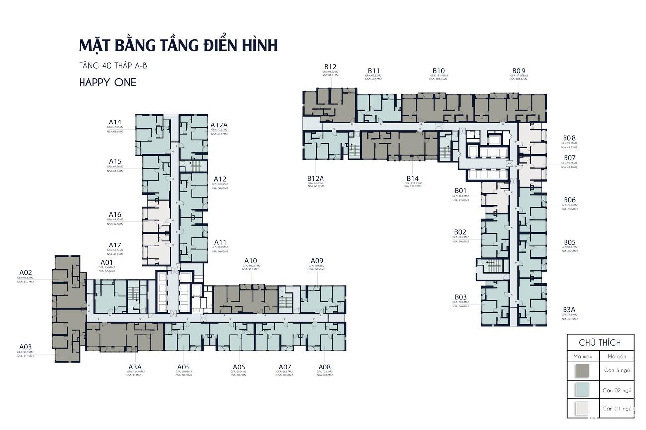 Mặt bằng chi tiết dự án Căn Hộ chung cư Happy One Central Phú Hòa Đường Đại Lộ Thủ Dầu Một chủ đầu tư Ốc Vạn Xuân