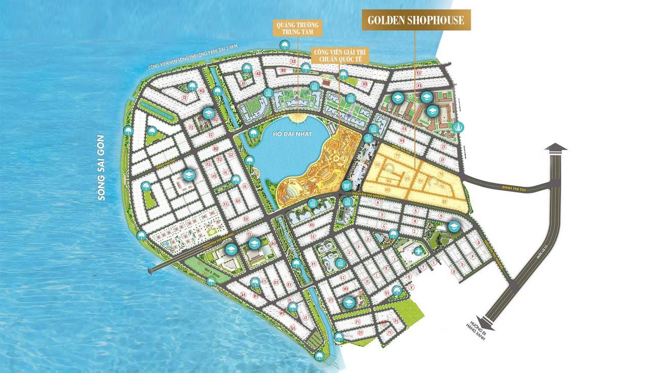 Mặt bằng phân khu Vạn Phúc Golden Khu Đô Thị Vạn Phúc City Quận Thủ Đức Đường Quốc lộ 13 chủ đầu tư Vạn Phúc Group