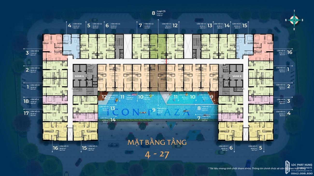 Mặt bằng dự án căn hộ chung cư Icon Plaza Thuan An Đường Vòng Xoay An Phú chủ đầu tư Danh Việt Group