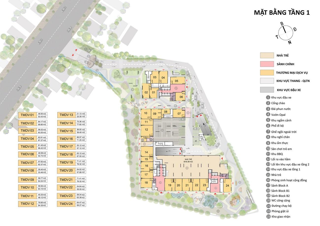 Mặt bằng dự án căn hộ chung cư Opal Cityview Bình Dương chủ đầu tư Đất Xanh