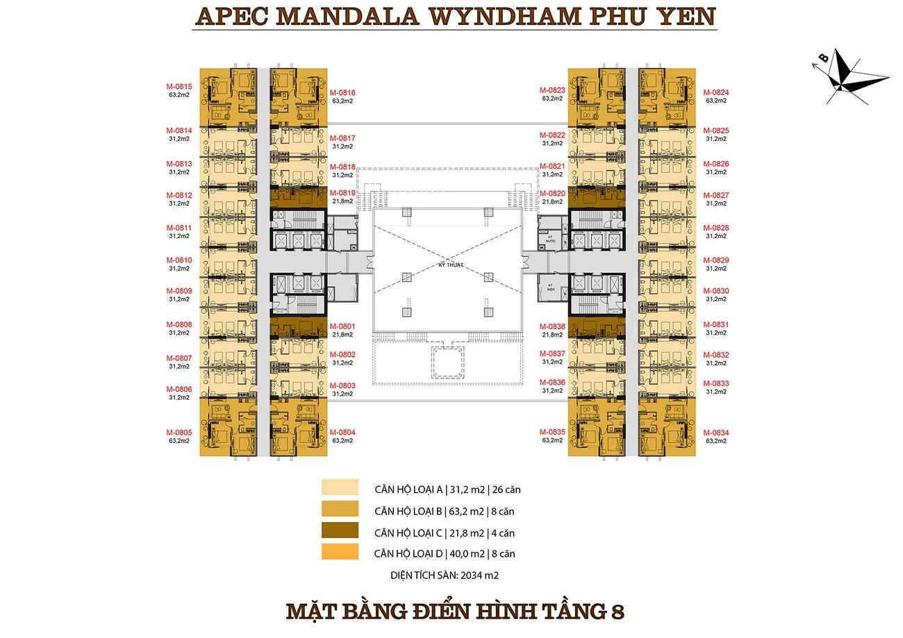 Mặt bằng dự án căn hộ condotel Apec Mandala Wyndham Phú Yên chủ đầu tư Apec