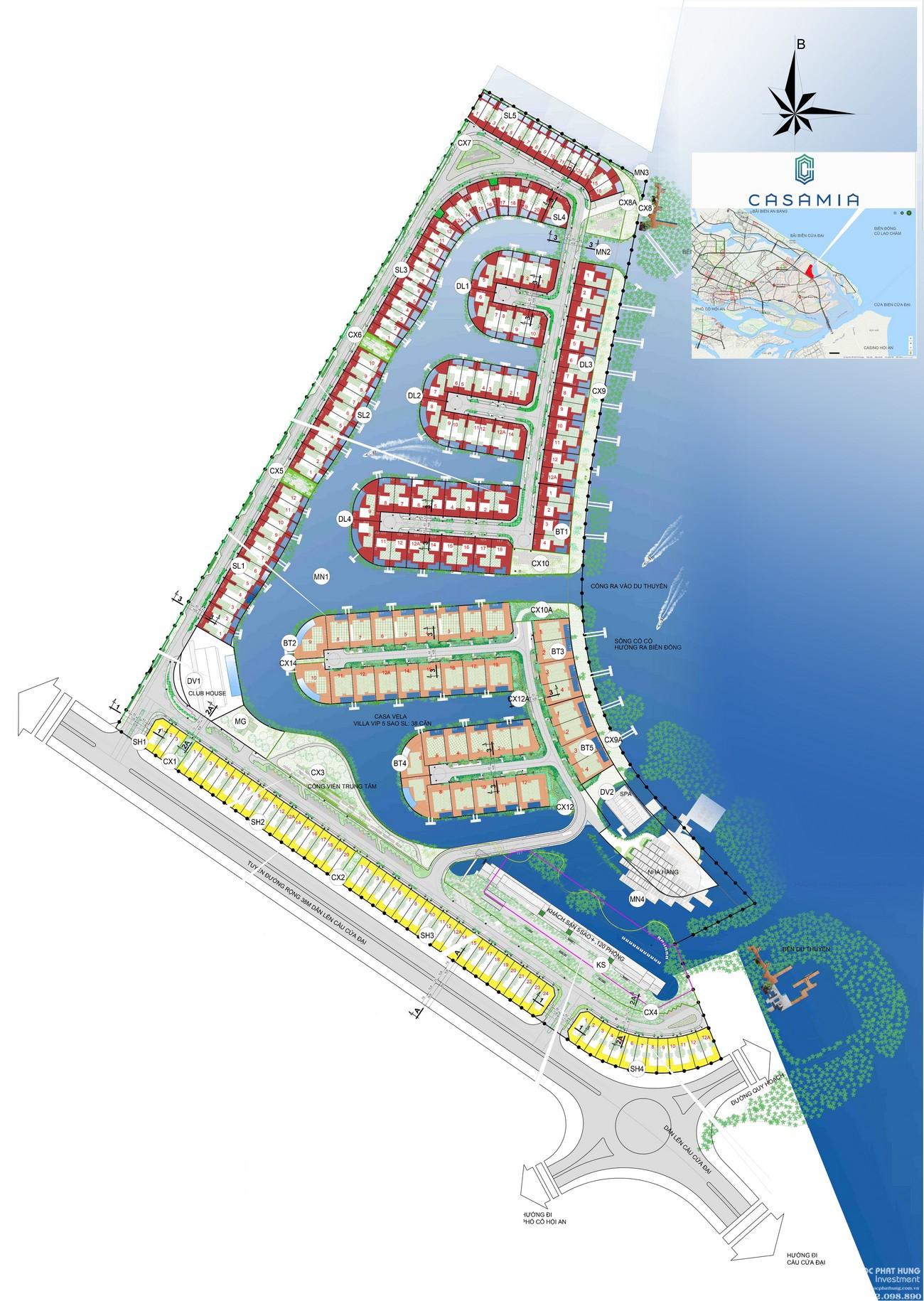 Mặt bằng dự án khu đô thị Casamia Hội An chủ đầu tư Đạt Phương