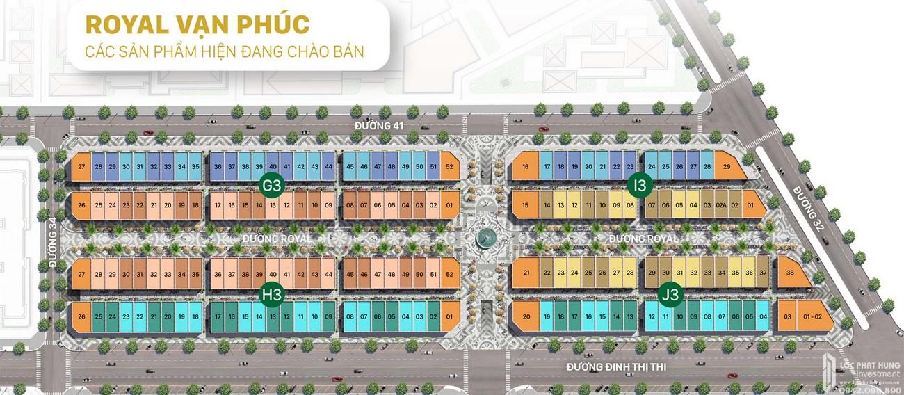 Mặt bằng phân lô Royal Vạn Phúc Khu Đô Thị Vạn Phúc City Quận Thủ Đức Đường Quốc lộ 13 chủ đầu tư Vạn Phúc Group