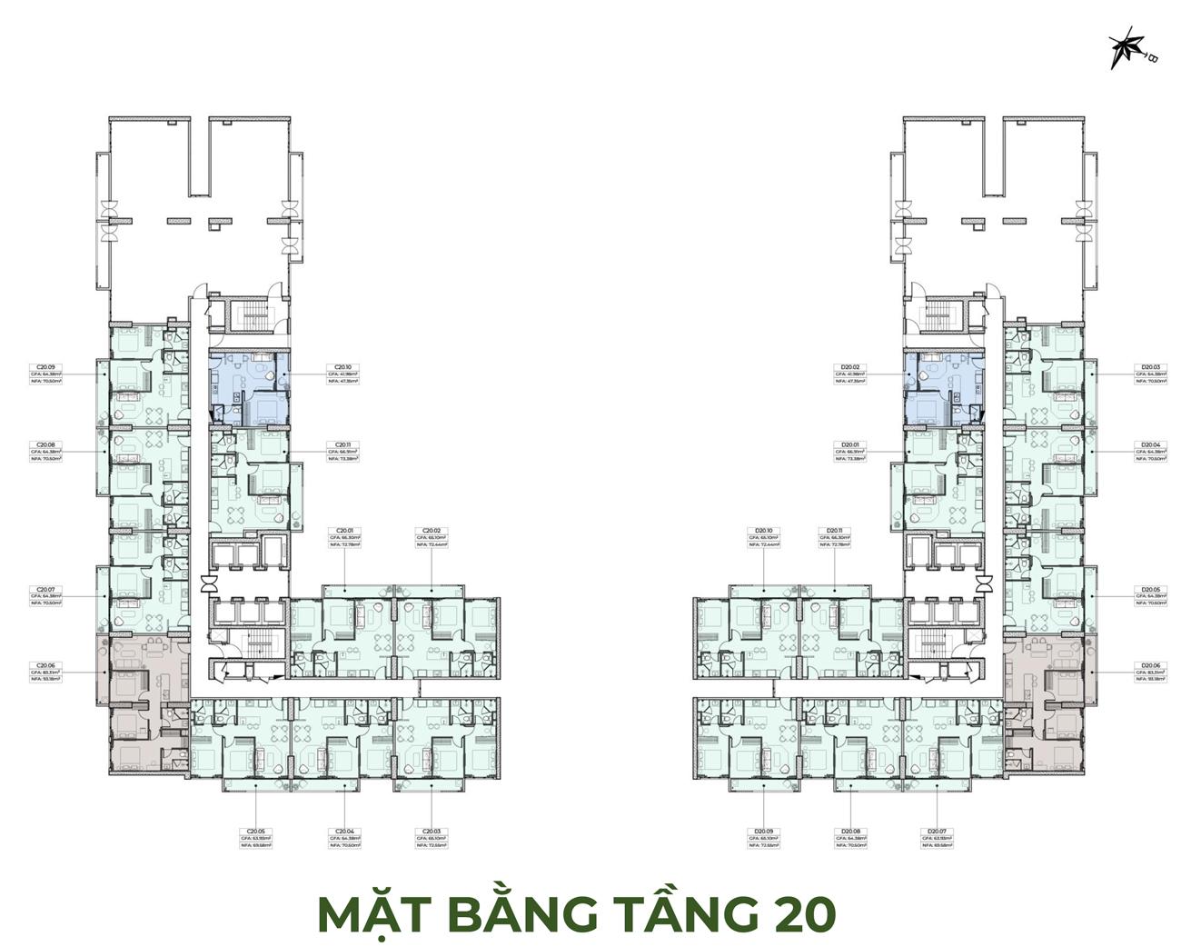 Mặt bằng 20 dự án căn hộ chung cư Anderson Park Bình Dương