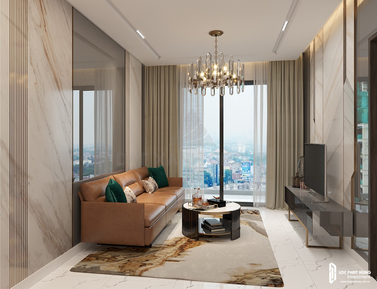 Thiế kế phòng khách của nhà mẫu loại 2 phòng ngủ dự án căn hộ chung cư Opal Skyline Thuận An