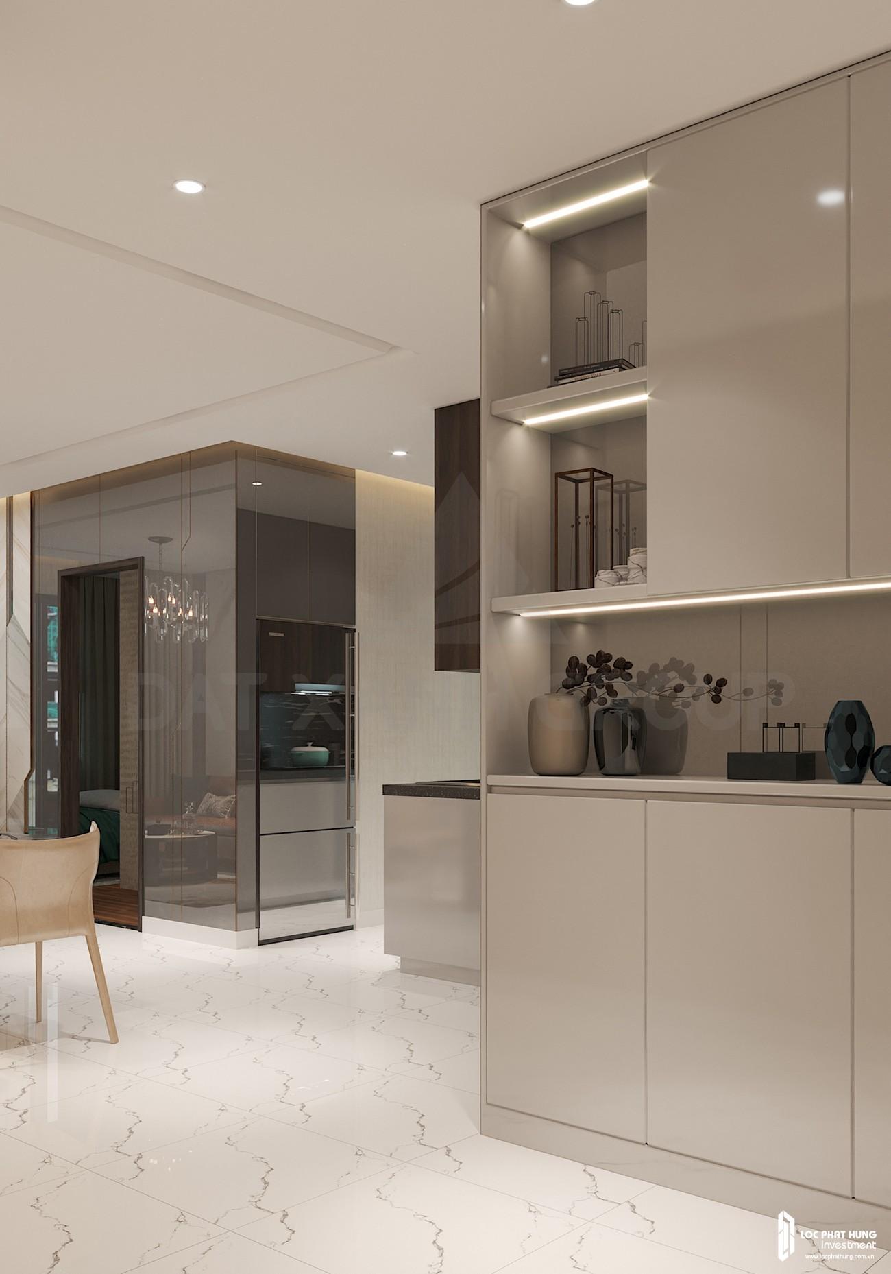 Thiế kế khu vực bếp của nhà mẫu loại 2 phòng ngủ dự án căn hộ chung cư Opal Skyline Thuận An