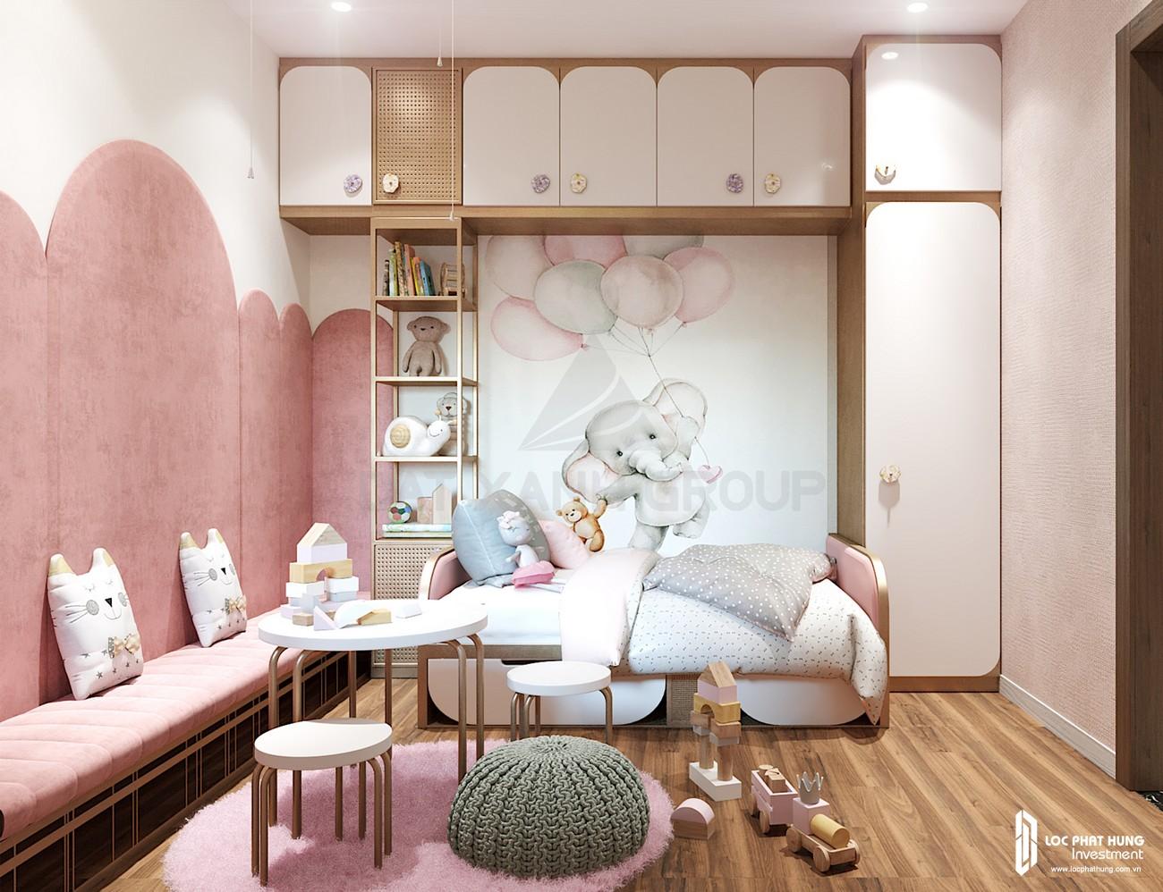 Thiế kế phòng ngủ trẻ em của nhà mẫu loại 2 phòng ngủ dự án căn hộ chung cư Opal Skyline Thuận An