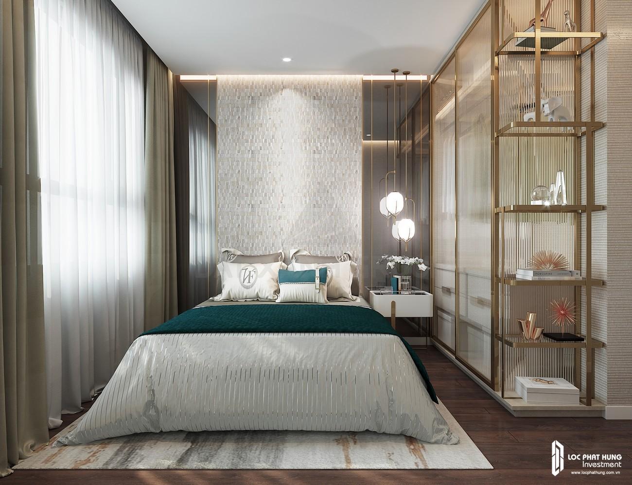 Thiế kế phòng ngủ Master của nhà mẫu loại 2 phòng ngủ dự án căn hộ chung cư Opal Skyline Thuận An