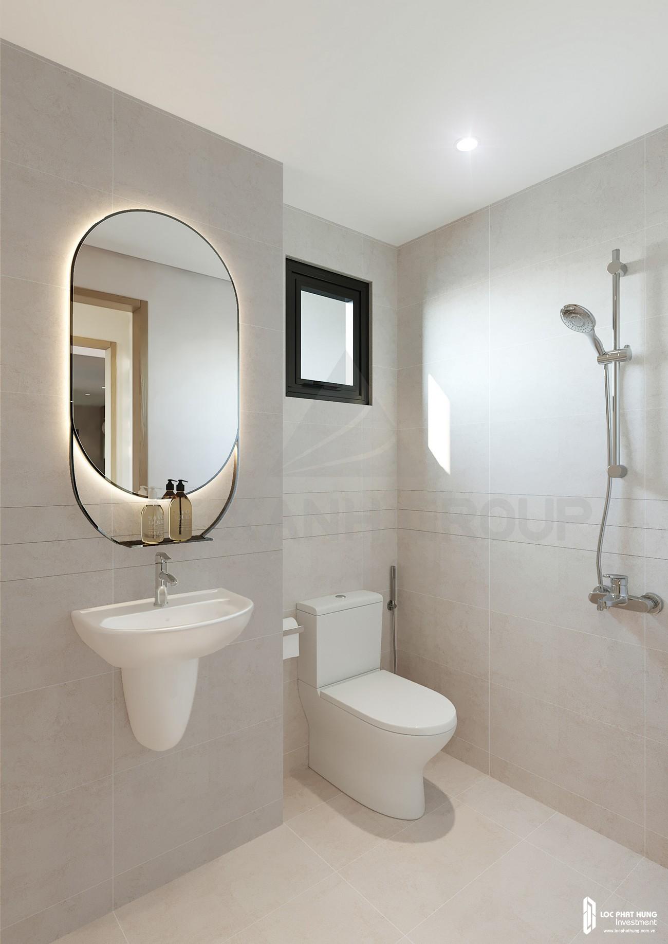 Thiế kế vệ sinh của nhà mẫu loại 2 phòng ngủ dự án căn hộ chung cư Opal Skyline Thuận An