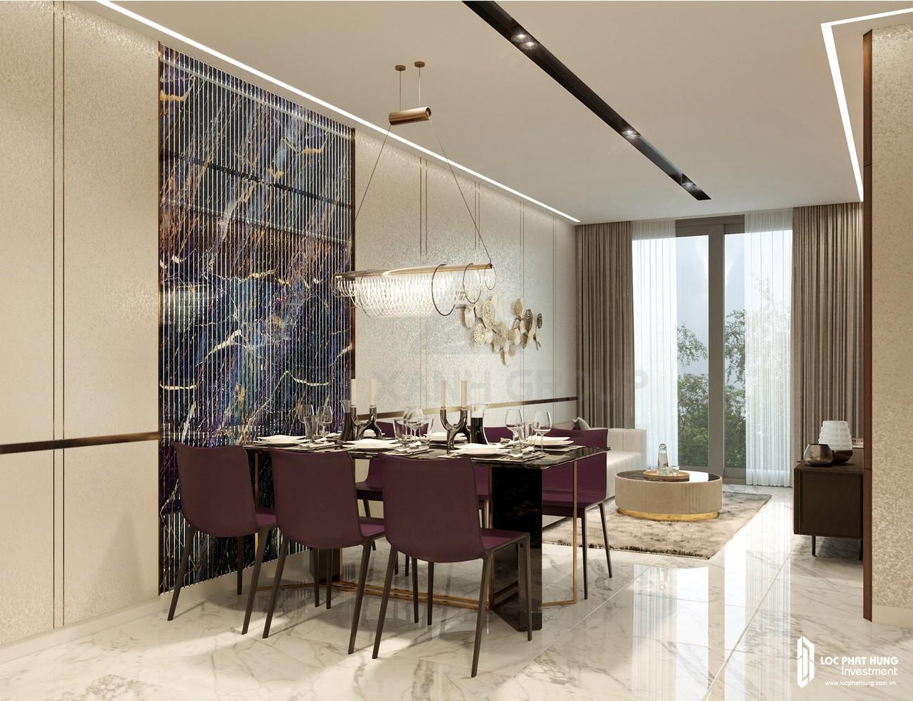 Thiết kế phòng khách của nhà mẫu loại 3 phòng ngủ dự án căn hộ chung cư Opal Skyline Thuận An