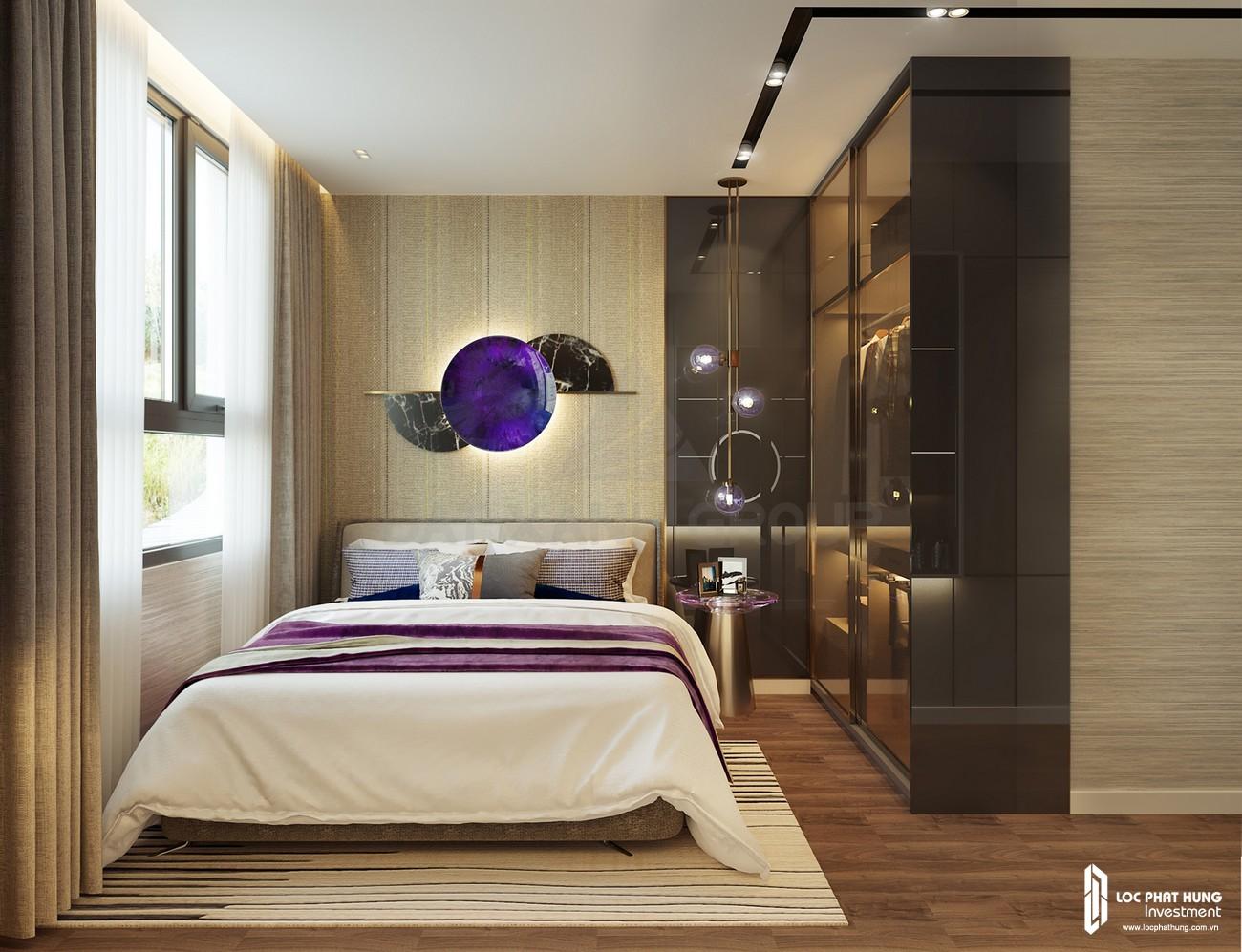 Thiết kế phòng ngủ 1 của nhà mẫu loại 3 phòng ngủ dự án căn hộ chung cư Opal Skyline Thuận An