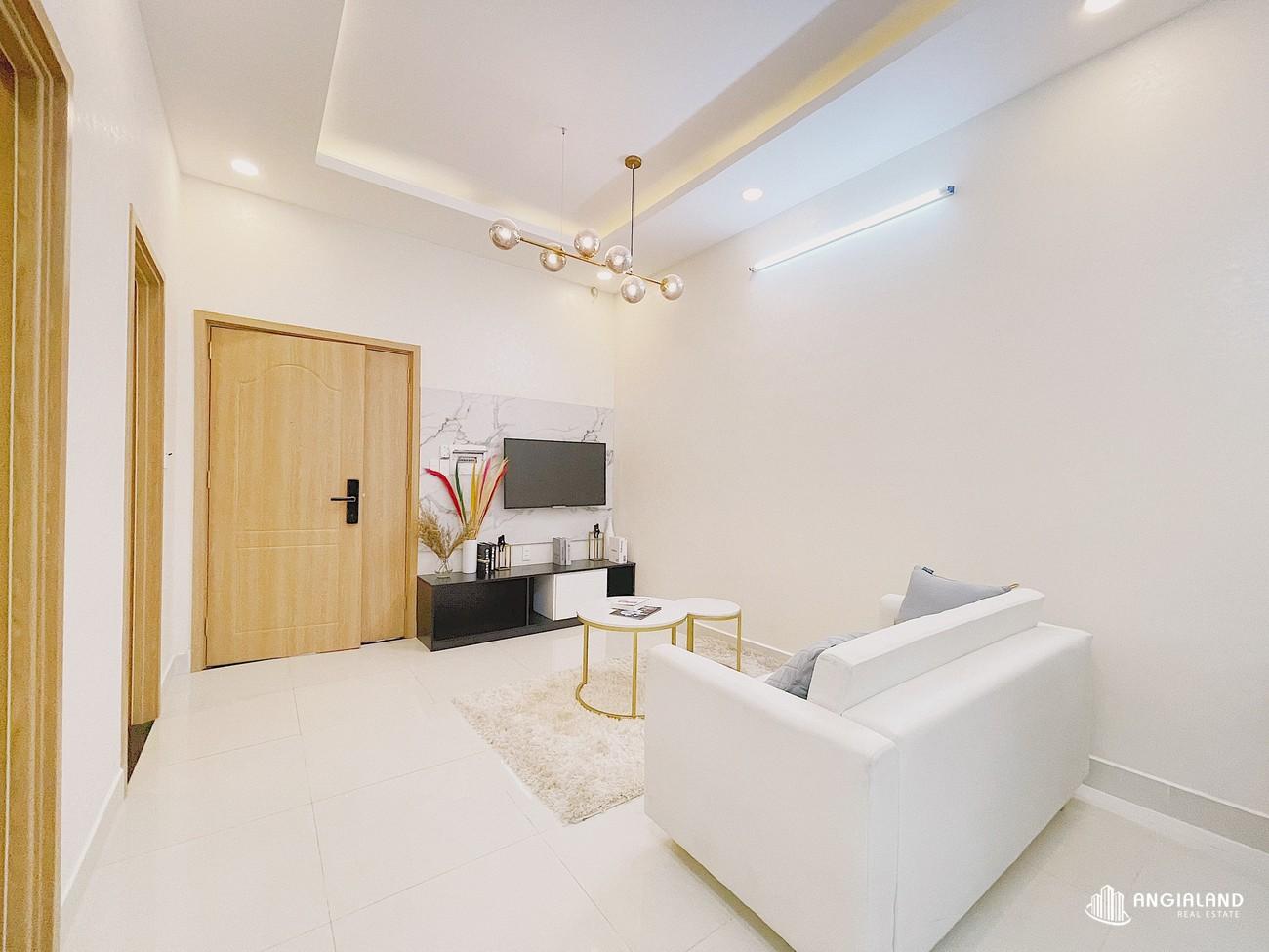 Phòng khách nhà mẫu 59m2 Parkview Apartment Thuận An Bình Dương