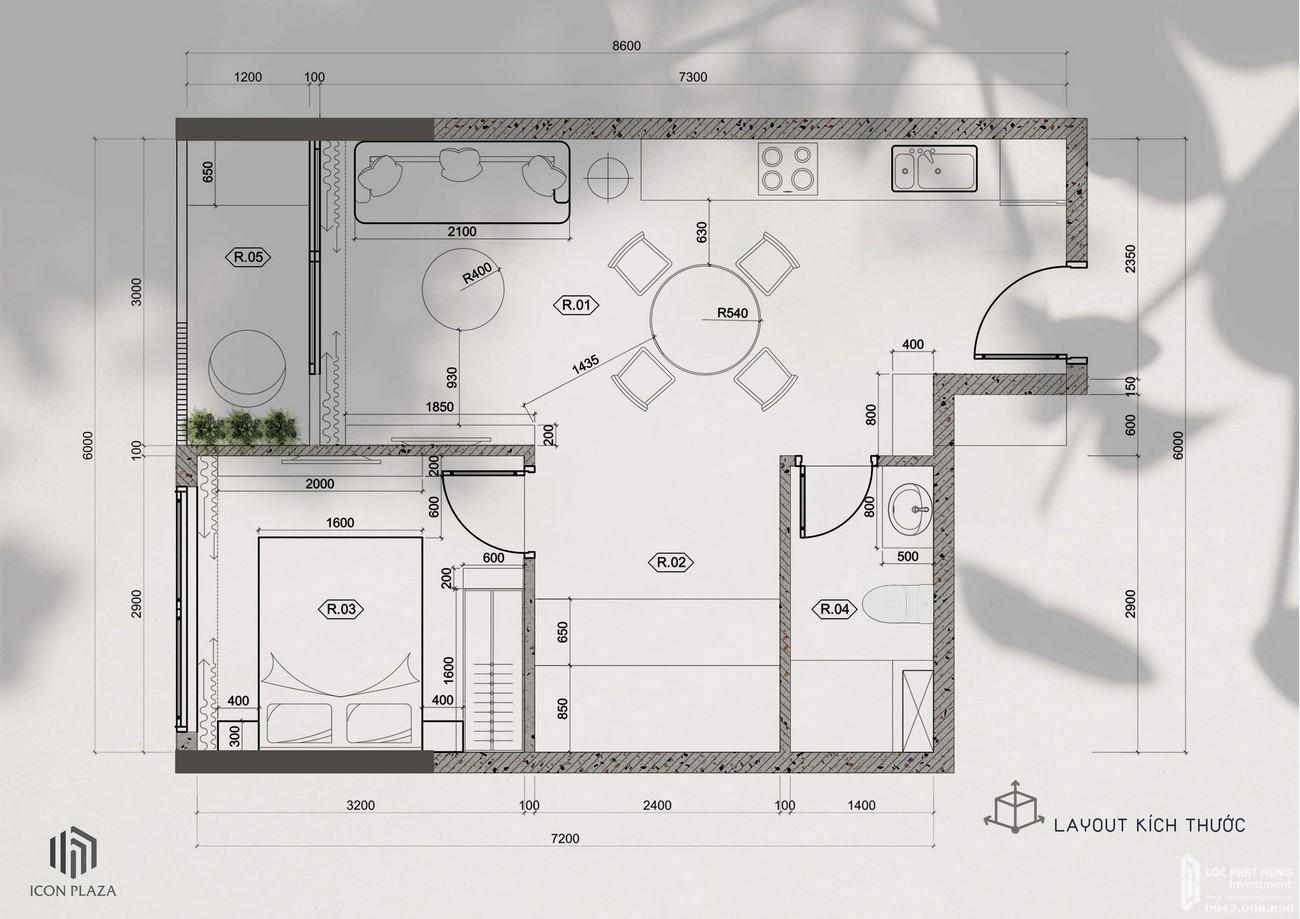 Thiết kế 1 phòng ngủ dự án căn hộ chung cư Icon Plaza Thuan An Đường Vòng Xoay An Phú chủ đầu tư Danh Việt Group